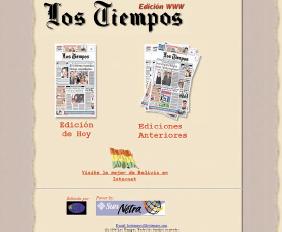 Apariencia del web de 'Los Tiempos' en el año 1997.